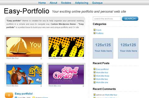 WordPress тема для портфолио easy-portfolio-wordpress