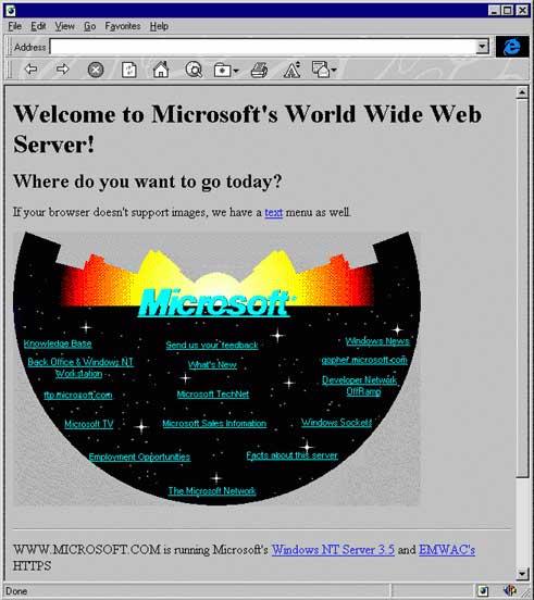 Самый первый сайт Microsoft